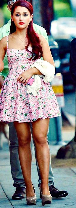 Ariana Grande in floral baby doll dress