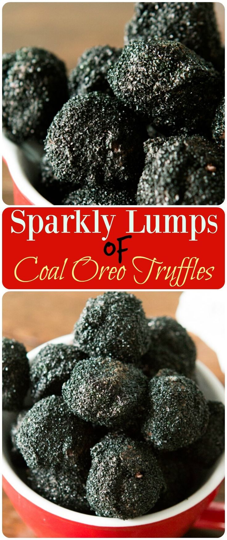 Oreos all ground up with cream cheese and rolled into perfect truffles then dipped in chocolate and sparkly black sprinkles to look like coal. ohsweetbasil.com