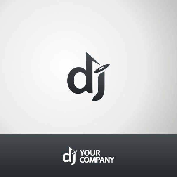 DJ logo for sale featuring the initial DJ and a record player graphic. But at Logosauce.com