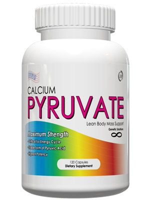 Calcium Pyruvate - 120 Capsules  * Critical for Energy Cycle * Stable form of Pyruvic Acid * Highest Potency. Calcium Pyruvate from Genetic Solutions provides a stable salt form of Pyruvic Acid, which is essential for the conversion of energy from carbohydate and starches. Pyruvate is the fundamental building block of the Kreb's Cycle, which is how the body creates ATP, the main fuel source of the body.