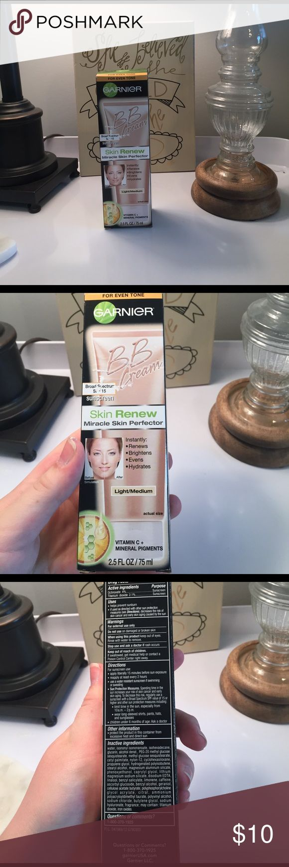 BRAND NEW Garnier BB Cream (Light/Medium) New, unopened Garnier BB Cream in Light/Medium. Thank you for stopping by! Comes from a smoke free home. Please feel free to make an offer. Happy Shopping! Garnier Makeup Foundation