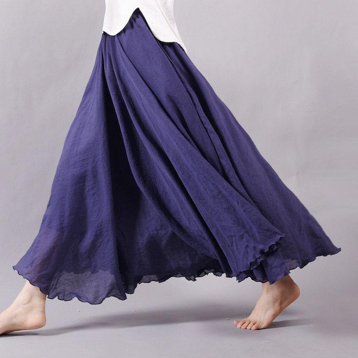 Women Linen Cotton Long Skirts Elastic Waist Pleated Boho Style