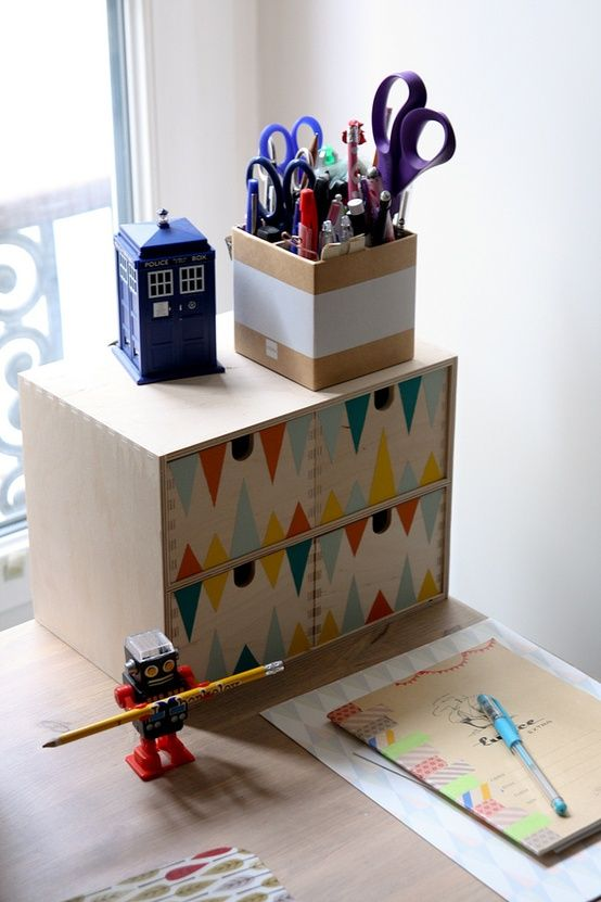 #ikea MOPPE (FIRA, MACKIS) mini chest of drawers: painted in a colorful geometric pattern
