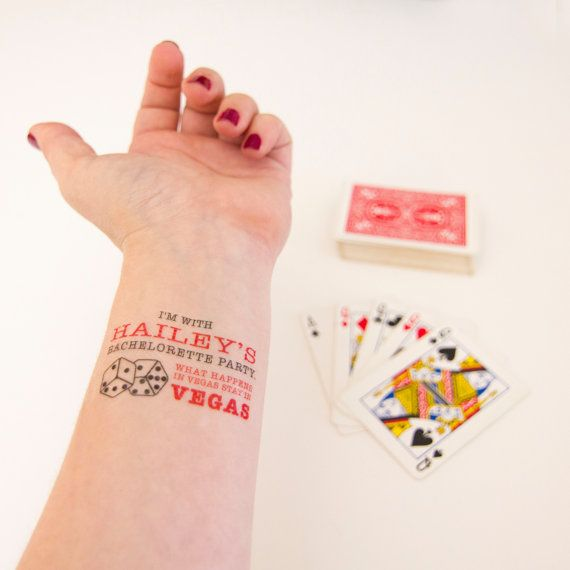 What happens in Vegas, Stays in Vegas Custom Temporary Tattoos, Pack of 15 Tattoo Favors including free bride tattoo
