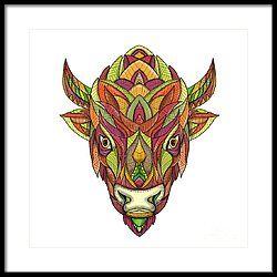 American Buffalo Bison Mandala  Framed Print by Aloysius Patrimonio