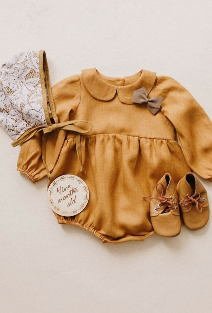c9c5b81a3624 Beautiful Handmade Peter Pan Collar Linen Baby Romper ...