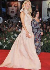 Champagne Halter una linea pavimento lunghezza tessuto elastico abiti di raso Venice Film Festival