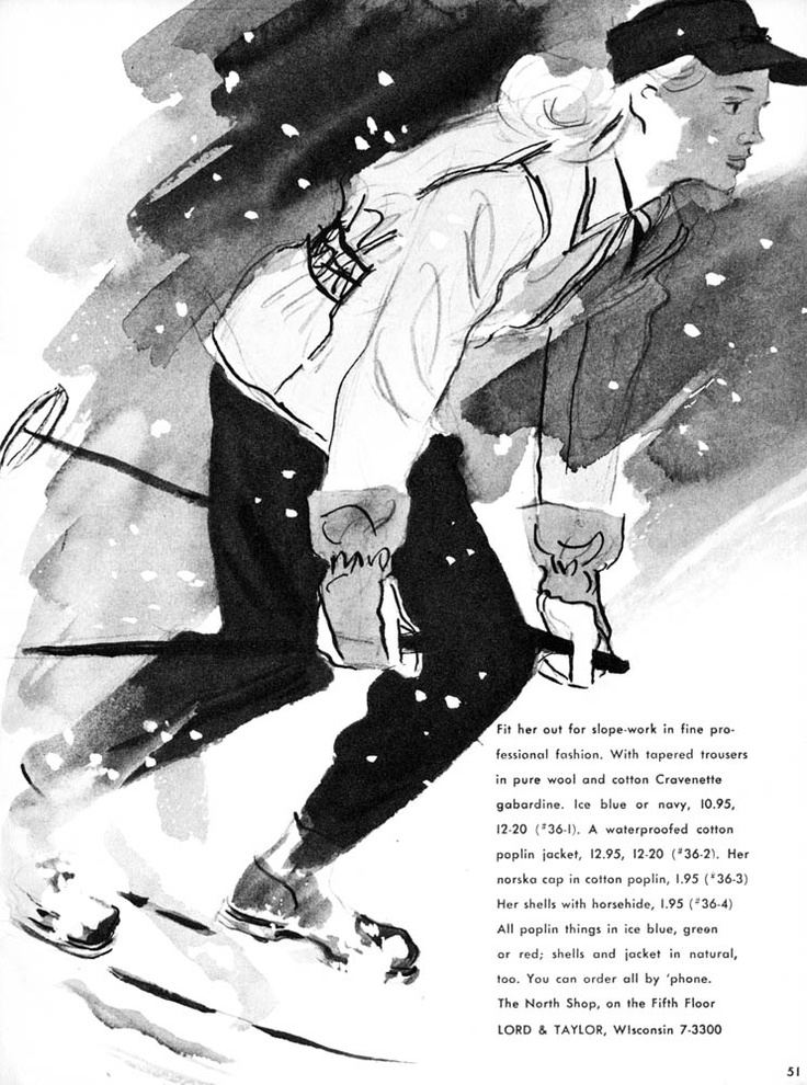Women's ski fashion from 1941 Lord and Taylor Christmas catalog. Illustrator unknown.