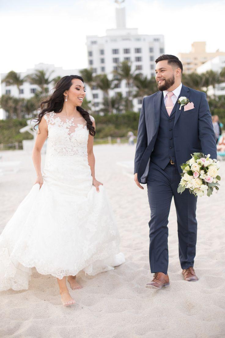 The Palms Hotel // Heather Funk Photography // Miami Beach // beach wedding // bridal gown // romantic wedding // wedding couple // boutonniere // wedding veil // wedding bouquet