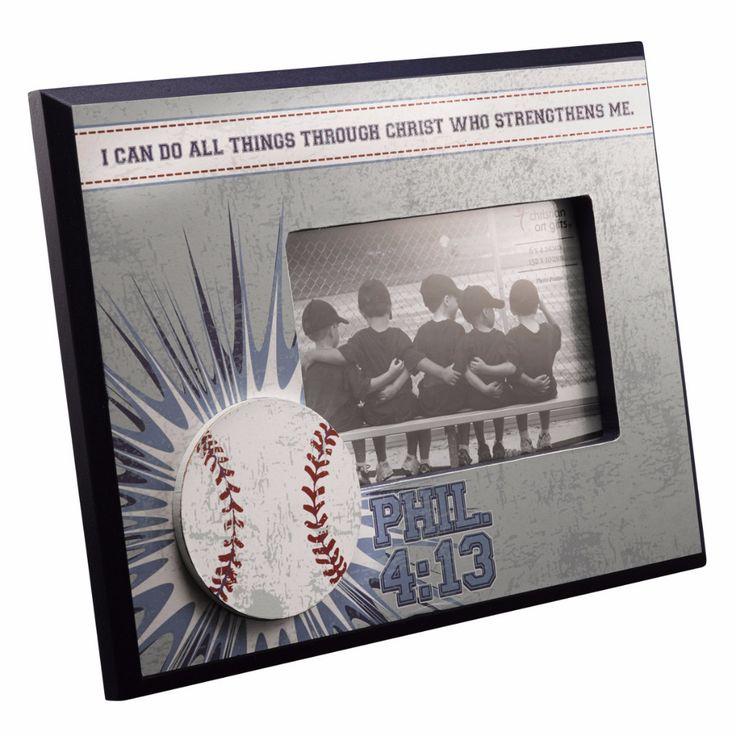 Wodden Baseball Photo Frame - Phillipians 4:13