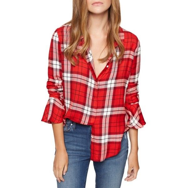 Women's Sanctuary Nightscape Plaid Ruffle Cuff Shirt ($89) ❤ liked on Polyvore featuring tops, paris plaid, shirt top, tartan shirts, red tartan shirt, drape top and sanctuary tops