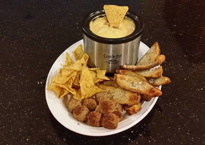Potato Skin Dippers with Sausage Cheese Dip with Chips and Meatballs Recipe -  Are you ready to cook? Let's try to make Potato Skin Dippers with Sausage Cheese Dip with Chips and Meatballs in your home!