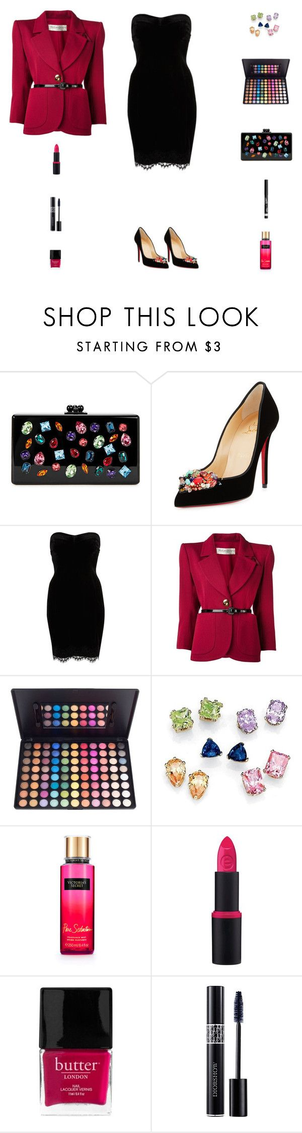 """""""Contest: Black & Fuchsia Outfit With Multicolor Crystals"""" by billsacred ❤ liked on Polyvore featuring Edie Parker, Christian Louboutin, River Island, Yves Saint Laurent, Palm Beach Jewelry, Essence, Butter London, Christian Dior and Rimmel"""