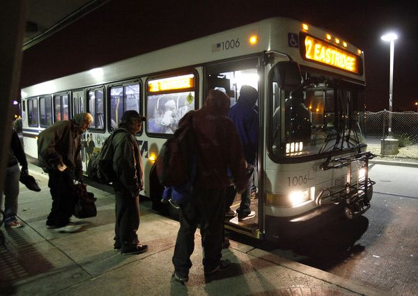Homeless turn overnight bus route into Hotel 22