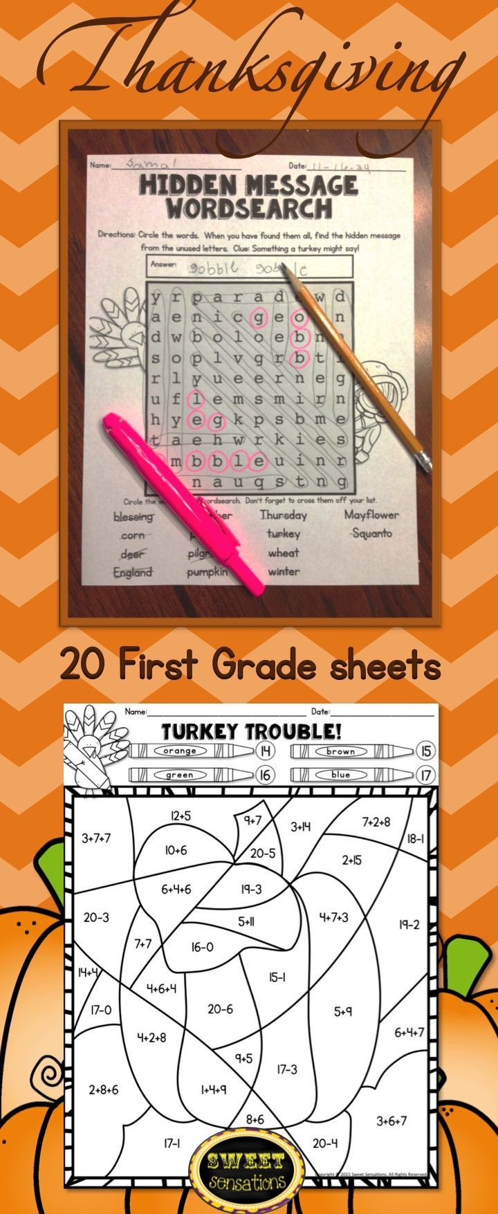 20 Sheets For First Grade 10 Ela And 10 Math With A Thanksgiving Theme Use For Morning Work Hom School Celebration Thanksgiving Worksheets First Grade Math [ 1755 x 720 Pixel ]