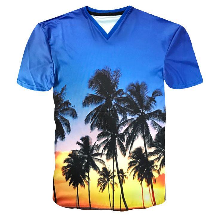 >> Click to Buy << T-Shirt Men/Women 3D Coconut Tree Print Hawaiian T Shirt Short Sleeve V-neck Tshirt  Tee Shirts Homme Fashion Summer Tops Tees #Affiliate