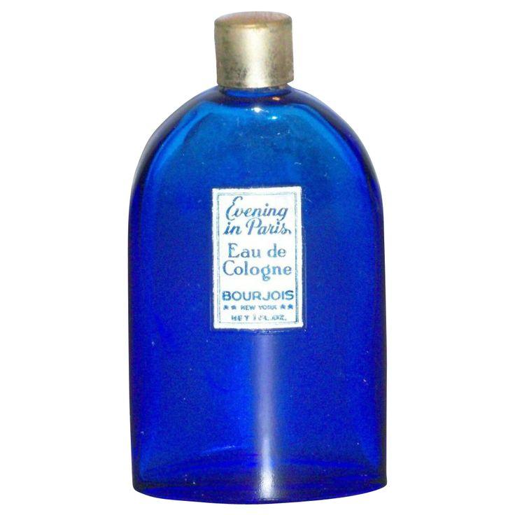 Evening in Paris Eau de Cologne Cobalt Blue Glass Bottle - Marked~~I remember this~