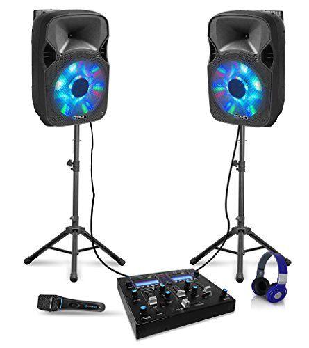 12″ Bluetooth DJ Package 2 12″ Speakers, Mixer,Tripods,Headphone & Microphone