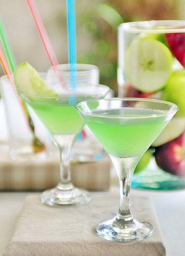 Mock Appletini: Combine 1/2 apple juice, 1/4 lemon juice and 1/4 simple syrup. Add an apple slice for garnish.