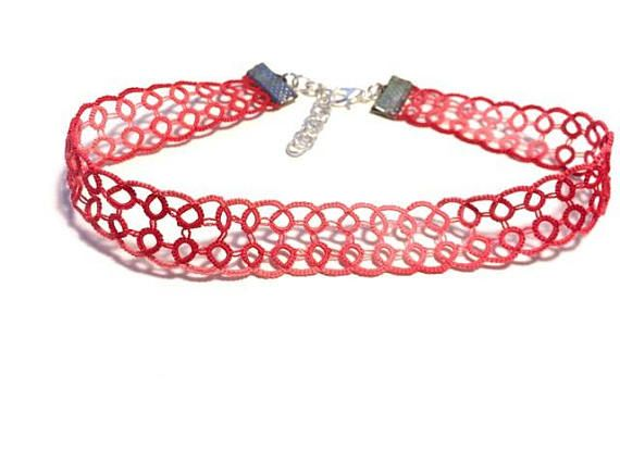 Pink Lace Choker Bright Pink Choker Bright Pink Necklace