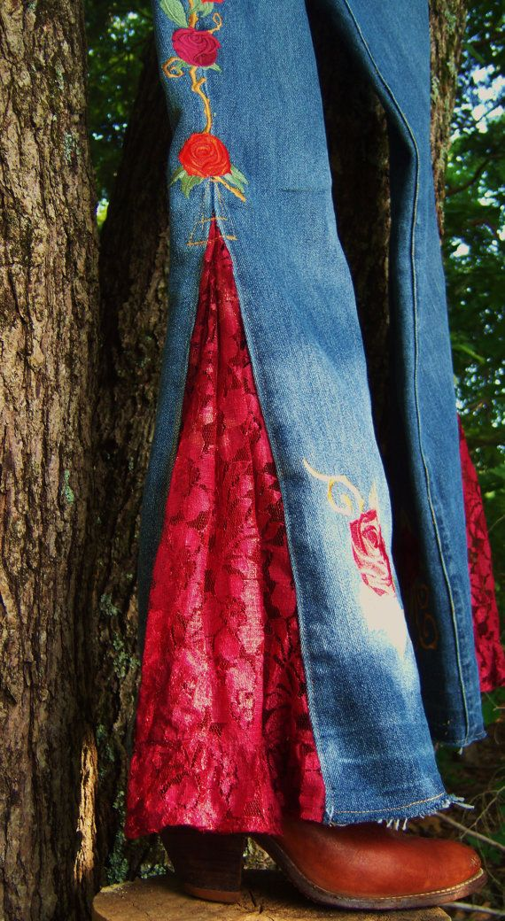 Embroidered Jeans roses and lace OOAK the Joplin by bohemianblue