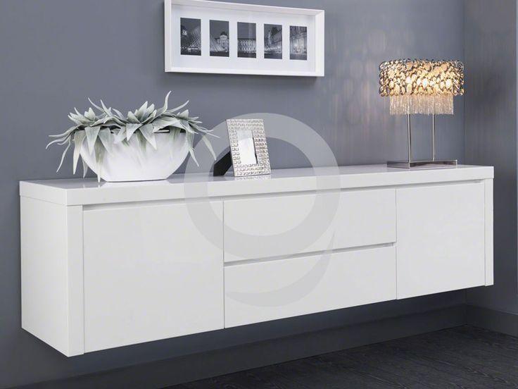 Sideboard hängend Weiß Glanzlack 2 Türen 2 Schubladen