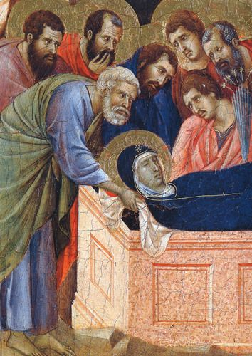 The position of Mary in the tomb (Fragment) by Duccio di Buoninsegna. Medium: wood, tempera .