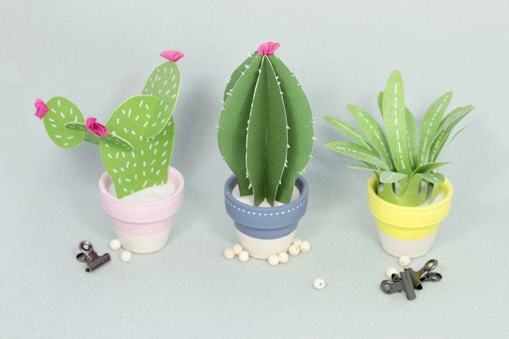 Créer des mini cactus en papier DIY