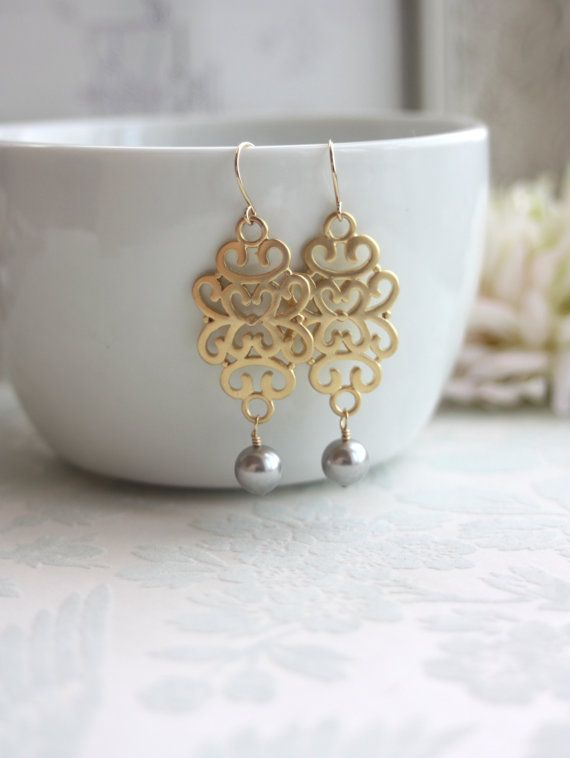 Matte Gold Filigree Moroccan Drops Grey Gray Pearls by Marolsha