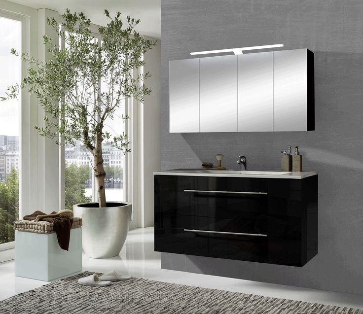 Sam 2tlg badezimmer spiegelschrank schwarz 120 cm rom