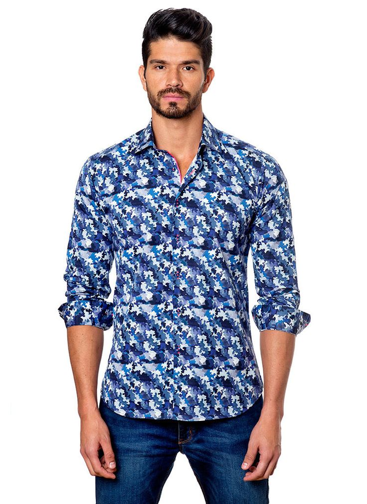 Jared Lang Men's Blue Camo Dress Shirt