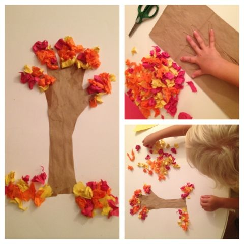 Fall Tree 1. using a paper lunch sack, cut out the shape you want the trunk to be and glue to a piece of construction paper 2. Using different colors of tissue paper, scrunch small pieces into leaves and glue the to the tree trunk and at the base of the tree.: Fall Tree 1. using a paper lunch sack, cut out the shape you want the trunk to be and glue to a piece of construction paper 2. Using different colors of tissue paper, scrunch small pieces into leaves and glue the to the tree trunk and at the base of the tree.