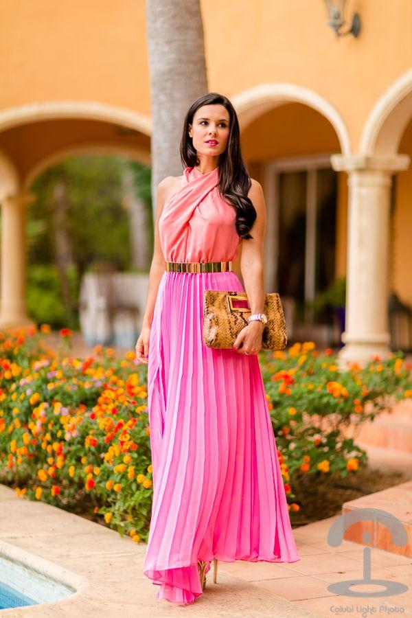 Pink long dress Vestido largo rosa Michael Kors Guess Crimenes de la Moda