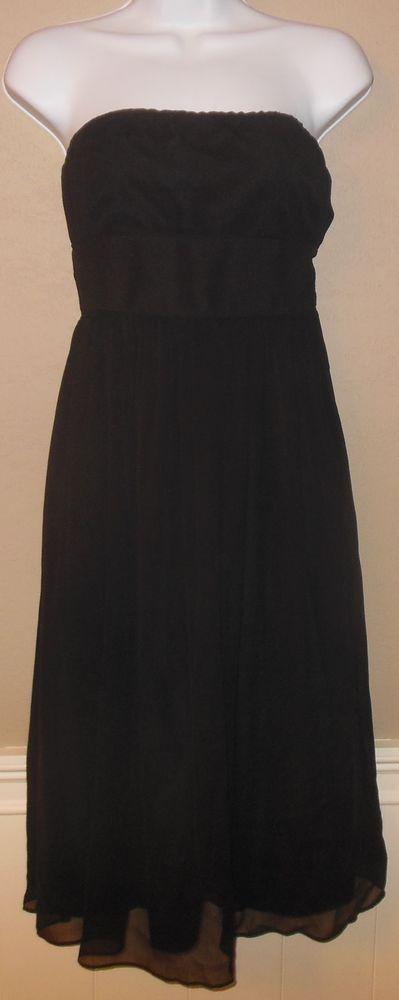 J Crew Emily Black Silk Chiffon Strapless Empire Waist Flare Bridesmaid Dress #JCrew #EmpireWaist #Cocktail