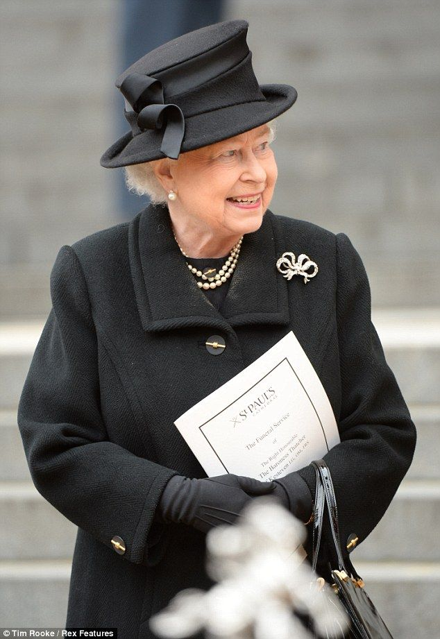 Grand occasion: The Queen greeted fellow dignitaries and allies of Thatcher outside the cathedral today.