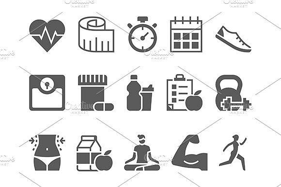 fitness health and sport icons by Kurokstas on @creativemarket