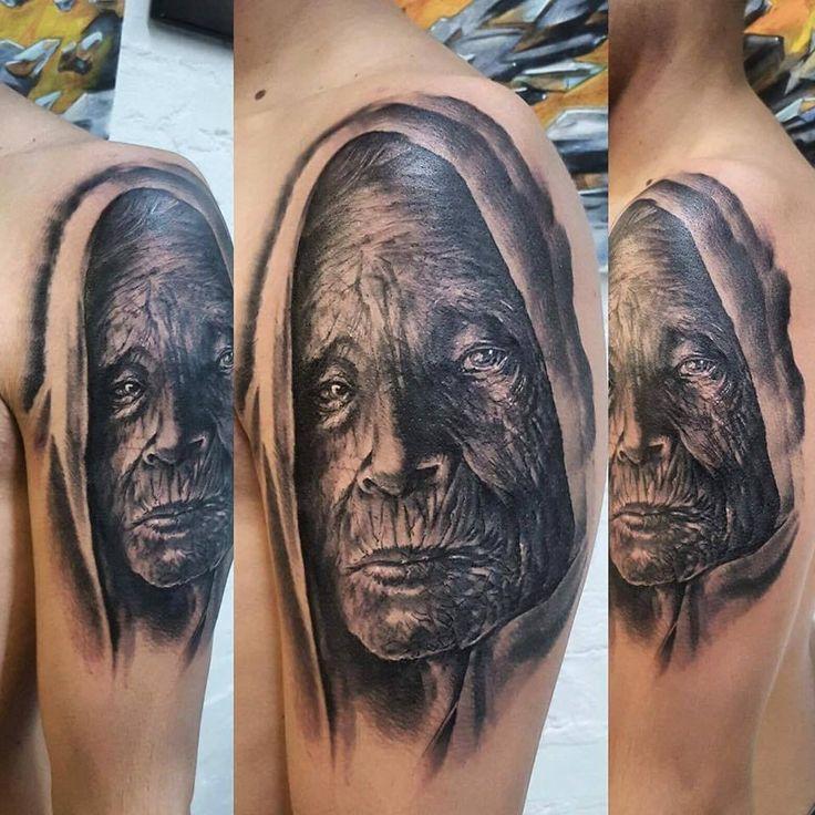 old woman tattoo, 77ink