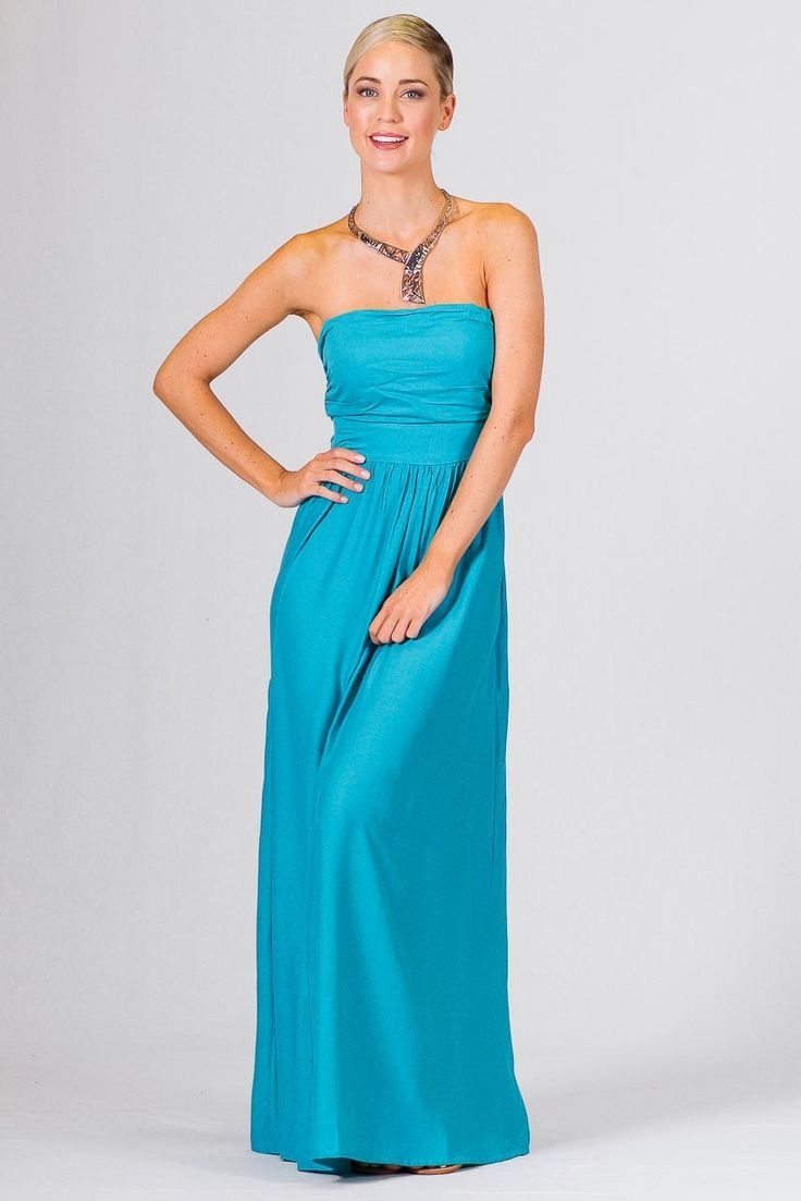 """Audrey Maxi Dress - Aqua - Paper Scissors Frock. One size fits standard ladies 8-14.  A full skirted strapless maxi dress.  Shirring at the back, with """"cut out"""" section and tie fastening. Made from Rayon Twill.  Pictured Model 5'8"""""""