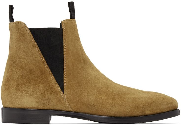 Suede Chelsea boots in beige. Round toe. Black elasticized gusset at sides. Textile pull-loops at collar. Black leather sole. Tonal stitching.