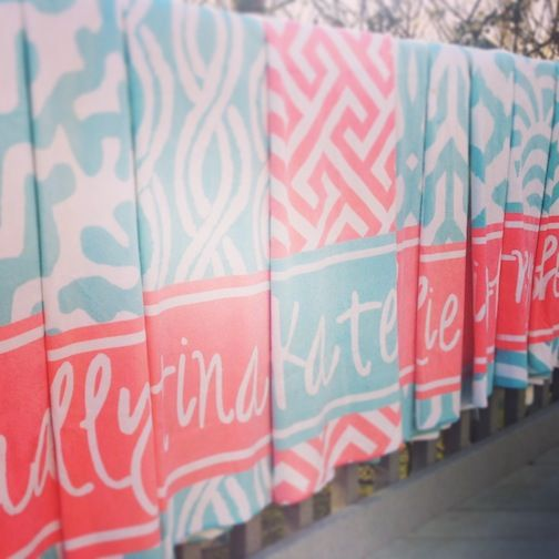 coral and aqua bridal party beach towels- haymarket designs.   LOVE THESE!!!