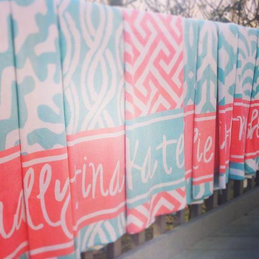coral and aqua bridal party beach towels- haymarket designs
