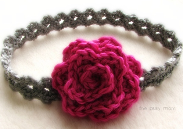 beginner crochet pattern. Baby headband diy crochet. Cute girly headband.