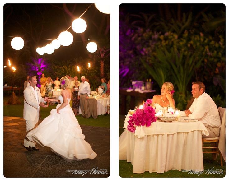 White Lanterns And Fuschia Uplighting At Garden Lawn   Four Seasons Resort  Hualalai Weddings