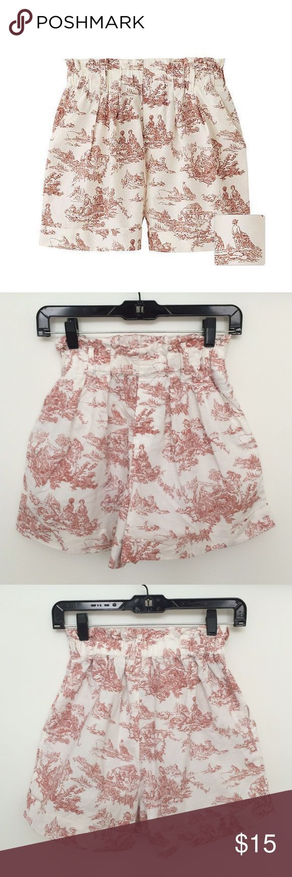 Uniqlo x Cabbages & Roses High Waist Flare Shorts Rare, hard to find collaboration between Uniqlo and Cabbages & Roses. Super comfortable with drawstring waist band. High waist style with flare bottom. Colonial style print. In like new condition. Too big for me. Labeled x-small but better fit for a small. Great for ladies with curves. Uniqlo Shorts