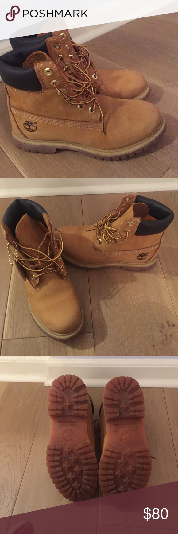 Classic Wheat Timberlands Authentic Timberland boots, worn once just to school, I realized I didn't like the way they looked on me so I decided to sell them! They're in perfect condition and still have the Timberland tag on them. I am willing to trade for a pair in a different color if you're interested! price is also flexible. 🔸If you want the price lower just put in an offer or comment down below!🔸SIZE 6.5 WOMENS Timberland Shoes