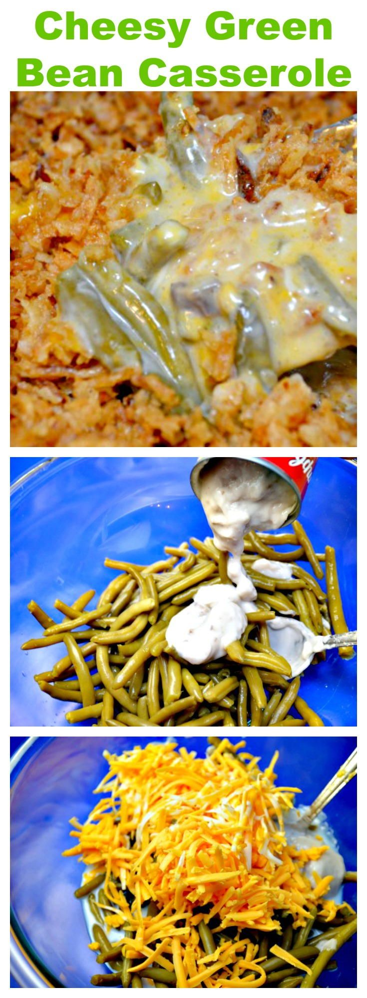 """""""Green Bean Casserole is a Thanksgiving tradition. I kicked up the traditional green bean casserole with cheese, garlic and Worcestershire sauce to make the best green bean casserole!"""""""