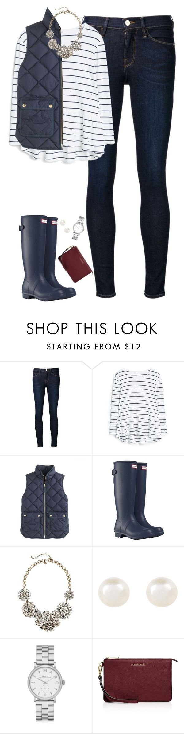 """Navy stripes, vest & hunter boots"" by steffiestaffie ❤ liked on Polyvore featuring Frame Denim, MANGO, J.Crew, Hunter, Accessorize, Marc by Marc Jacobs and MICHAEL Michael Kors"