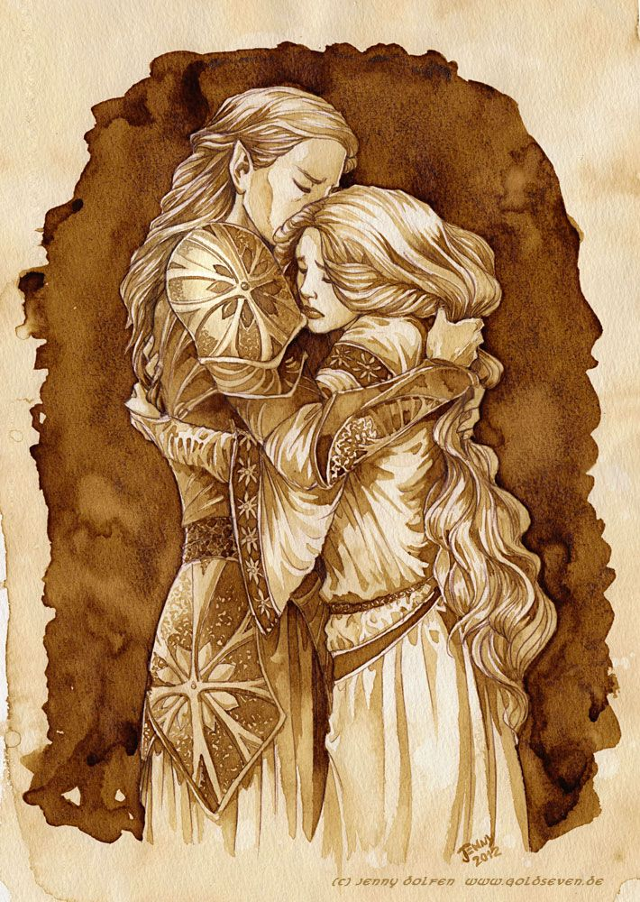 Galadriel and her father Finarfin, from the Silmarillion. By Jenny Dolfen, painted entirely with COFFEE! #illustration #lotr