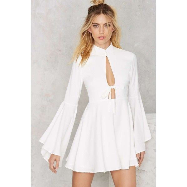 Nasty Gal Fool For You Bell Sleeve Dress (£61) ❤ liked on Polyvore featuring dresses, white, white cut out dress, bell sleeve dress, evening dresses, a line cocktail dress and white evening dresses