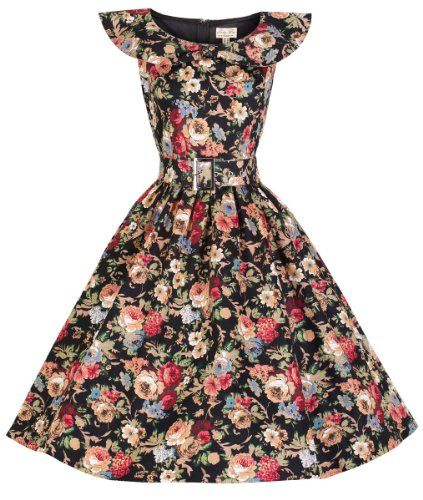 LINDY BOP 'HETTY' BOW SHAWL COLLAR VINTAGE 1950's SPRING GARDEN FLORAL PARTY DRESS - Available In Sky Blue Floral, Red/White Floral & Black Floral (L, Black Floral) Lindy Bop http://www.amazon.com/dp/B00J8GYGRU/ref=cm_sw_r_pi_dp_7fjDub01P4GT9